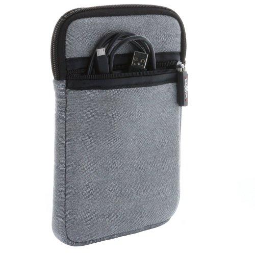 XiRRiX Tasche Reißverschluss für eBook Reader Größe 6 Zoll (15,24cm) wie Tolino Modelle - Hülle in grau