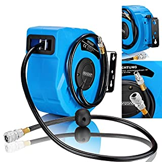 monzana Hose Reel Wall Mounted 3/8 Connection Pneumatic Compressed Air Retractable Auto Rewind Tool