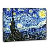 Niik Quadro + Telaio (BC) Notte Stellata di Vincent Van Gogh 60 x 47 x 1,7 cm Falso d'autore Stampa su Tela