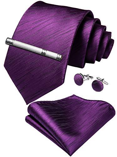 DiBanGu Herren Krawatte und Einstecktuch aus Seide Gr. Einheitsgröße, Violett (2) -