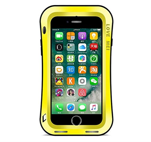"""iPhone 7 4,7"""" Strap Case, i-Nings Heavy duty Small Waist water resistant Extremely Shock/Snow/Dirt Proof aluminum Cover with gorilla glass screen for Apple iPhone 7 4,7"""" (Jungle Camouflage) Yellow"""