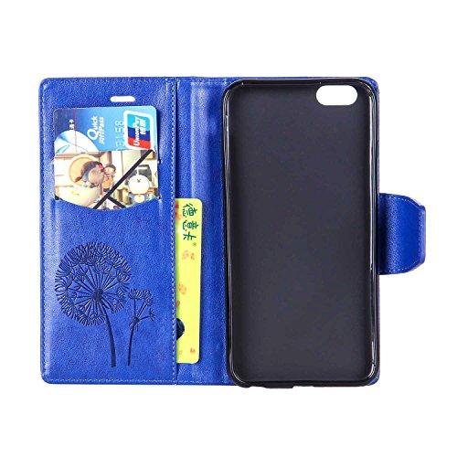 """MOONCASE iPhone 6 Plus Coque, Faux Diamant Pissenlit Gaufrage Dessin Motif Étui Housse en Cuir à rabat Coque de Portefeuille Porte-Cartes TPU Case avec Béquille pour iPhone 6 Plus / 6S Plus 5.5"""" Bleu Bleu"""