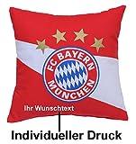 FC Bayern Kissen Rot/Weiß mit persönlichen Wunschtext in Ihrer Wunschfarbe