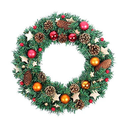 BAIVIT Weihnachtskranz Haustür Garland Wood Chips Sterne Weihnachtskugel Kiefer Kegel Mall Fenster Dekoration Tür Hängen 40 cm Garland Chip