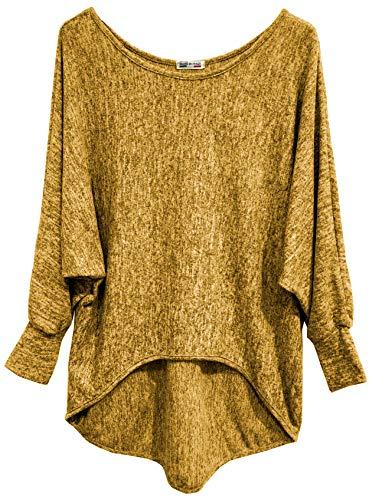 Emma & Giovanni - Basic Langarmshirt/Pullover- Damen (EU36/38/M, Ocker)