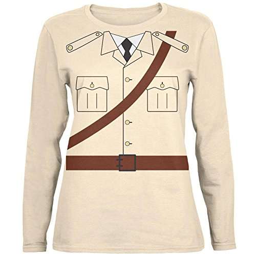 Kostüm Halloween Safari Explorer Dr. Livingstone Womens Long Sleeve T Shirt weiche Creme (Explorer Kostüm Safari)