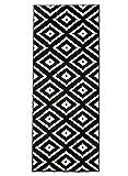 Carpeto Läufer Teppich Modern Schwarz 70 x 250 cm Geometrische Muster Kurzflor Furuvik Kollektion