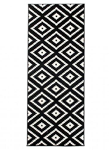 Alfombra 80 x 400 cm Negro Moderna Decoración Geometrica