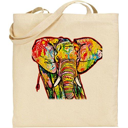 (ab) Psychedelic elefante Shopper, Borsa in cotone naturale