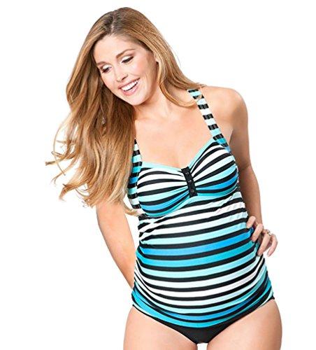 Yuanu Damen Rückenfrei Hängender Hals Geteilter Badeanzug Sommer Hohe Taille Enges Tankinis Sets Für Schwangere Frauen als Bild L