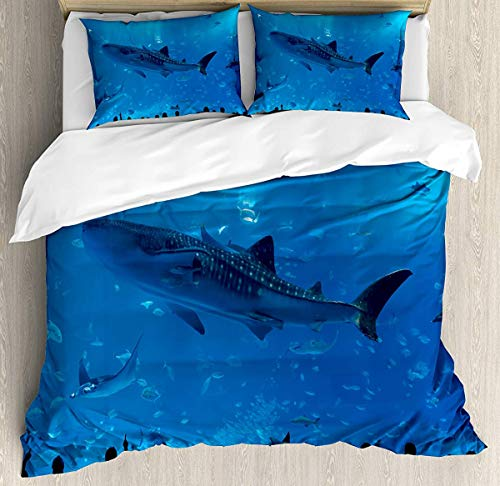 Shark Duvet Cover Set Small Double Size, Japanese Aquarium Park with People Silhouettes Watching Underwater Life Hobby Image, Decorative 3 Piece Bedding Set with 2 Pillow Shams, Blue Black