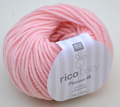 Rico Baby Merino dk 003 - rosa Babywolle aus 100% Merinowolle extrafine zum Stricken und Häkeln, Merinowolle Babywolle Rico Merino