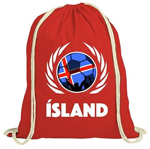 Iceland Wappen Soccer Fussball WM Fanfest Gruppen Fan natur Turnbeutel Gym Bag Fußball Island Rot Natur
