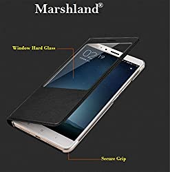 Marshland Xiaomi Mi A1 Window Cut Flip Case Cover Professional Leather 100% Hard & Shiny High Quality Flip Cover Superior Finish Durable Protection & Four Corner Protection Synthetic PU leather Water Proof Perfect Fit Best Quality Case For Mi A1- Black