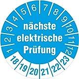 100 Stück nächste elektrische Prüfung blau Prüfetiketten / Prüfplaketten 30 mm Durchmesser 2018-23
