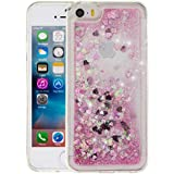 """Iphone 5S Coque Silicone, Iphone SE Case, Iphone 5 Coque, Nnopbeclik® Paillettes Briller Style Backcover Doux Soft """"Transparente"""" Housse (4.0 Pouce) Antichoc Protection Antiglisse Anti-Scratch Etui """"NOT FOR IPHONE 5C"""" - [Pink1]"""
