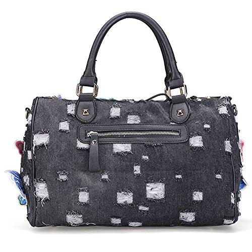Packingworld Damen Mädchen Fashion Denim Ripped Schultertasche und Umhängetasche und Handtasche Leder Schulterriemen Mehrere Bilder Koreanischer Stil Schwarz