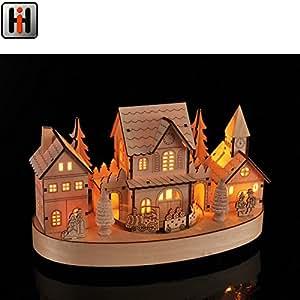 beleuchtete weihnachtsstadt mit led eisenbahn und motor weihnachtsdorf weihnachtshaus. Black Bedroom Furniture Sets. Home Design Ideas
