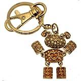 Acosta–Cristal Swarovski Topaze et Jaune–Robot Ours en Peluche avec cœur Sac Charme/Porte-clés–Livré dans Une boîte Cadeau