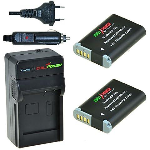 ChiliPower NB-12L Kit: 2x Batería (1950mAh) + Cargador para Canon PowerShot G1 X Mark II / N100 / LEGRIA VIXIA Mini X