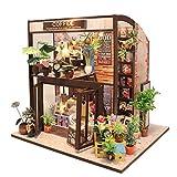 CUTEBEE Miniatura casa delle Bambole con mobili, Fai da Te Kit di Dollhouse di Legno, in Scala 1:24 Spazio Creativo per Idea Regalo San Valentino(Coffee House)