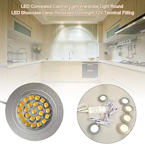 Juman634 Kabinett Licht LED Kleiderschrank Licht Runde LED Showcase Lampe Einbaudownlight 12V Terminal Fitting - Küche Beleuchtung Zähler