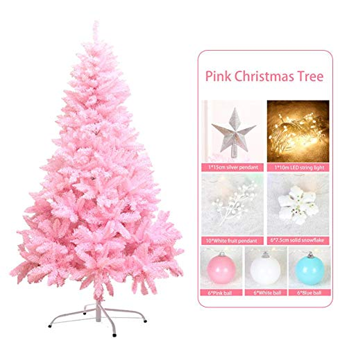 Cherishly 47 Zoll rosa Weihnachtsbaum, 350 Zweige Weihnachtsbaum mit Obst Anhänger Schneeflocken, Ball Ornament Xmas Party Decoration Handy - Zweige Mini-licht-anhänger