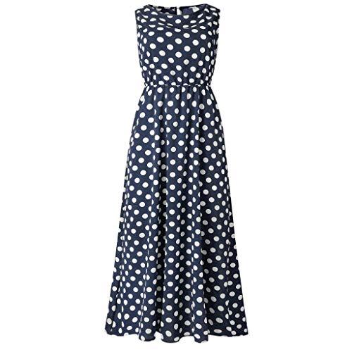 Dasongff Boho Lang Maxi Kleid Polka Dots Strandkleider Elegante Festkleider Falten Casual Swing Kleider Blusenkleid (Polka-dot-kleid Roten Weiß Mit)