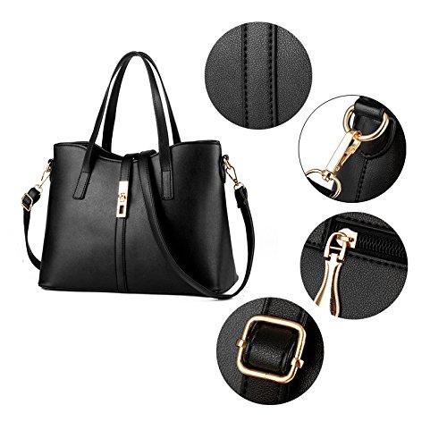 Sunas 2017 printemps et décontracté été et simple sac Messenger épaule portable grand sac dame sac de verrouillage de la mode Noir