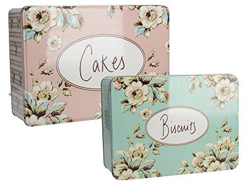 Katie Alice Cottage Flower 2 rechteckige Kuchen- und Keksdosen aus Metall