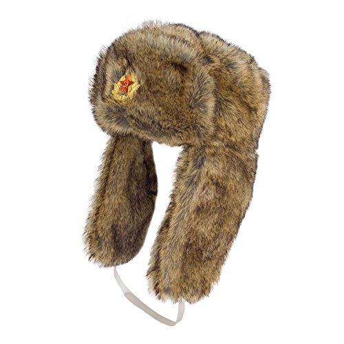GIZZY(R) Unisex Faux Fur Ushanka Trapper Hat with Russian Badge