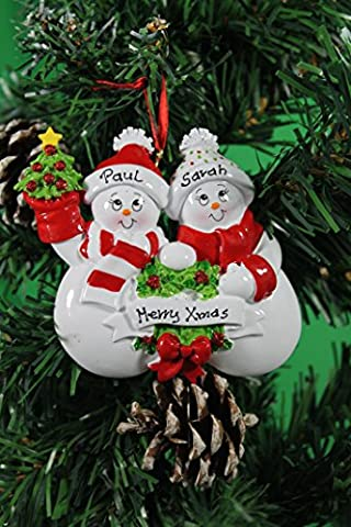 Personalized Christmas Tree Decoration Ornaments Snow Family - For the family of 2 members- Get your desired names on the items- A perfect Christmas