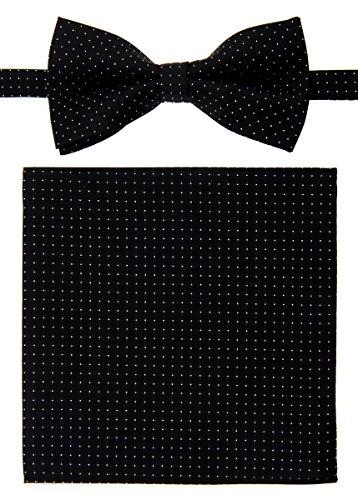 Retreez–Pantaloncini da uomo in tessuto Gilet con cravatta, Papillon, tascabile quadrato scatola regalo set Black