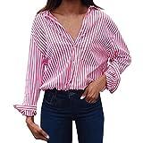 BHYDRY Frauen-Art- und Weisegestreifte Lange Hülsen-Lose Bluse beiläufige T-Shirt Tops(XL,Rosa)