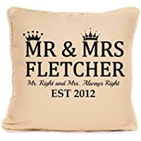 Personalised Mr and Mrs Throw Pillow Gift For Valentines Day Or Wedding Anniversary | 'Mr. Right and Mrs. Always Right' | 18x18 Inch Cushion Pillow with Pad | Present For Couples