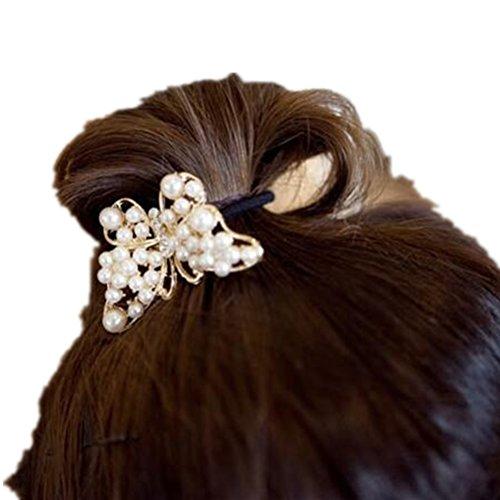 cuhair (TM) 1 pièce en métal Bow fille femmes Force Queue de cheval élastique de cheveux Cravates bandes Corde en caoutchouc ou accessoires
