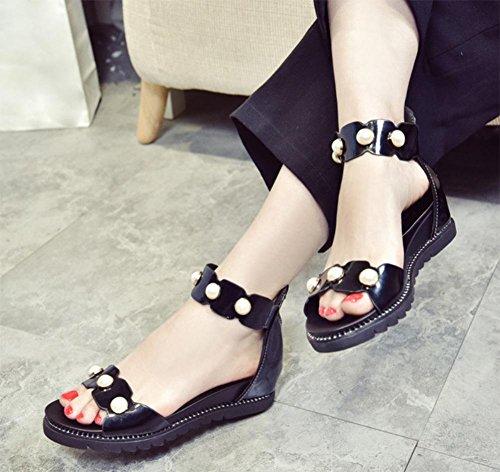 Sommer mit niedrigeren Absätzen offene Sandalen Perle Verschluss Wort nach Reißverschlusstasche mit flachen Sandalen weiblichen Sandalen Black