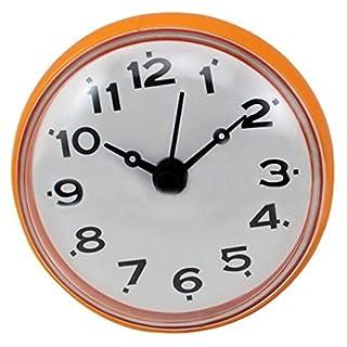 SODIAL(R) 7cm Waterproof Kitchen Bathroom Shower Clock Suction Cup Sucker Wall Orange