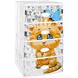 Gran plástico apilable Set de 4cajones con cristal frontal decorado Little Cat, color blanco, Set de 21