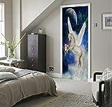 Adesivo Porta New 3D Door Sticker Creativo Cielo Bianco Pegaso Fai da Te Impermeabile Autoadesiva PVC Art Decorazione Murale Porta Decor Pasta Decorazione della Casa