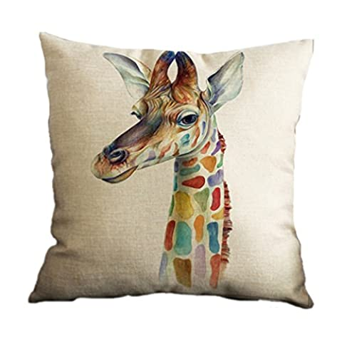 Nunubee Cotton Linen Cushion Cover 18X18 Pillowcase Throw Pillow Case Sofa Decoration Colourful Animals 1