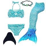 UrbanDesign Meerjungfrau Flosse Zum Schwimmen Meerjungfrau Schwanz mit Flosse mit Bikini für Kinder Mädchen, 9-10 Jahre, Blau, (Ocean)