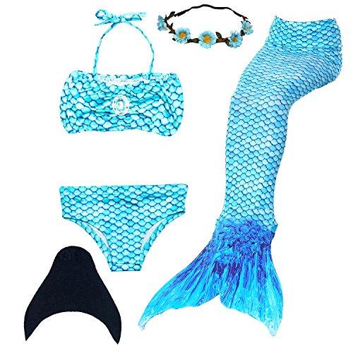 UrbanDesign Meerjungfrau Flosse Zum Schwimmen Meerjungfrau Schwanz mit Flosse mit Bikini für Kinder Mädchen, 7-8 Jahre, Blau, (Ocean)