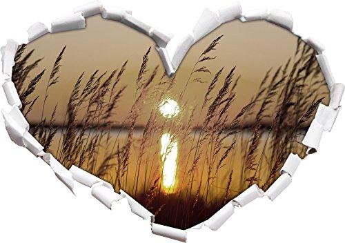 Erbe al tramonto nero / a forma di cuore bianco in formato sguardo, parete o adesivo porta 3D: 62x43.5cm, autoadesivi della parete, decalcomanie della parete, decorazione della parete