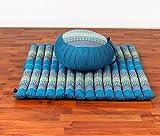 Meditationsset: Meditationskissen Zafu 40x20cm, Meditationsmatte Zabuton 76x72cm (blau)