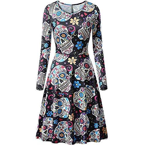 Yvelands Vestido de Cóctel para Mujeres, Vestido de Calaveras de Halloween sin Mangas Casual para Mujer,, XL