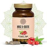 Einführungspreis - Hagebutte Kapseln I Hage & Butte I 60 Stück I Linderung bei Gelenkbeschwerden für ein neues Wohlbefinden   Hagebutteschalen Pulver 900,0 mg & Vitamin C 16,0 mg