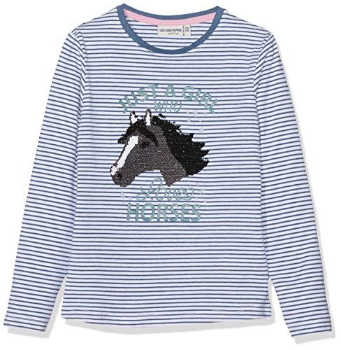 SALT AND PEPPER Mädchen Longsleeve Horses Stripe Langarmshirt, Blau (Jeans Blue Melange 487), 116