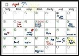 Magnetischer Monatsplaner 40x30 cm mit 4 Stiften, magnetisches, flexibles Whiteboard und Kühlschrank-Kalender - für Monatsplanungen, einfach zu beschreiben und trocken abzuwischen, mit starkem Magnet