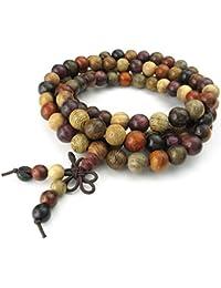 KONOV Joyería Pulsera de hombre mujer, 8mm La Oración Budista Tibetano Cuentas de Sándalo Mala Collar, Madera, Color marrón rojo (con bolsa de regalo)